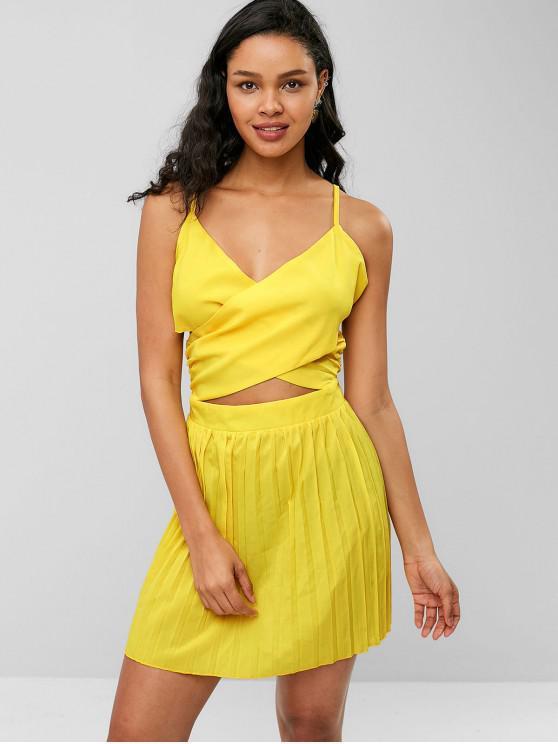 buy ZAFUL Criss Cross Pleated Panel Cami Dress - YELLOW M