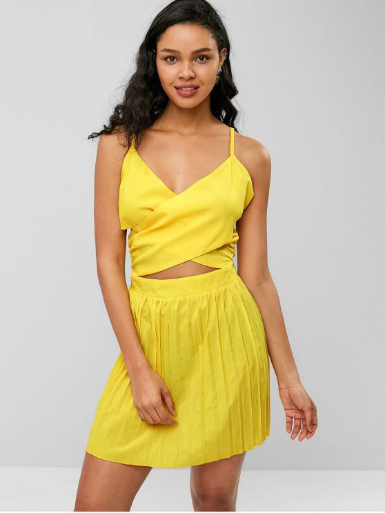 women ZAFUL Criss Cross Pleated Panel Cami Dress - YELLOW S