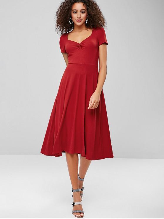 ZAFUL Fit e Flare Ruched Midi Dress - Lava Vermelha S