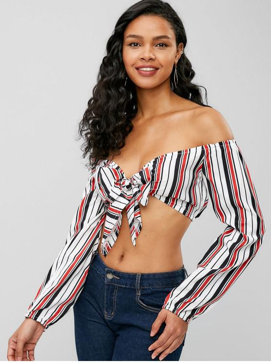 women's Striped Tie Front Off Shoulder Crop Top - RED M
