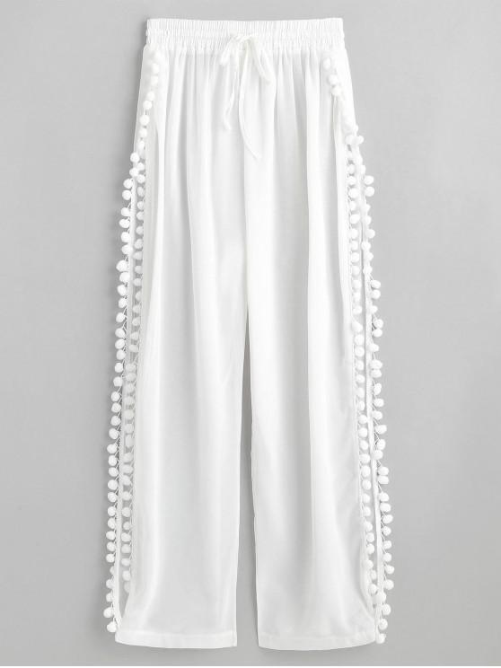 women Slit Pom Pom Sheer Beach Pants - WHITE L