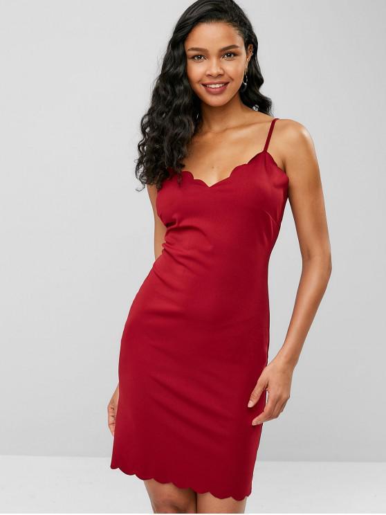 sale Scalloped Cami Bodycon Mini Dress - RED WINE L