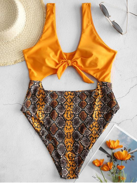 new ZAFUL Tied Cut Out Snakeskin Swimsuit - MULTI-A M