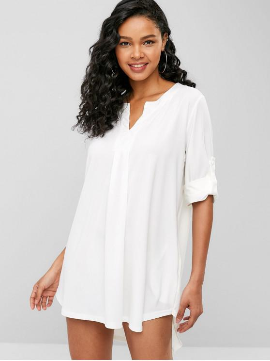 best V Neck High Low Tunic Dress - WHITE ONE SIZE