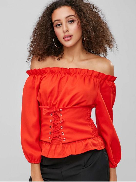 Blusa con hombros descubiertos y con cordones - Naranja Brillante M