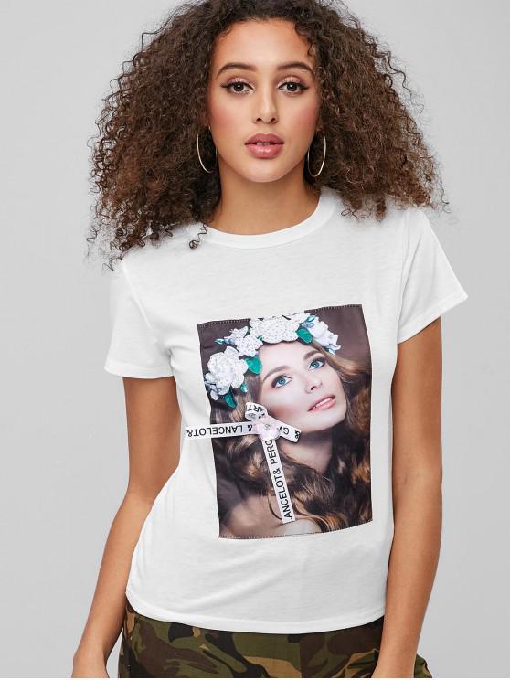 shops Girl Graphic Rhinestoned Tee - WHITE M