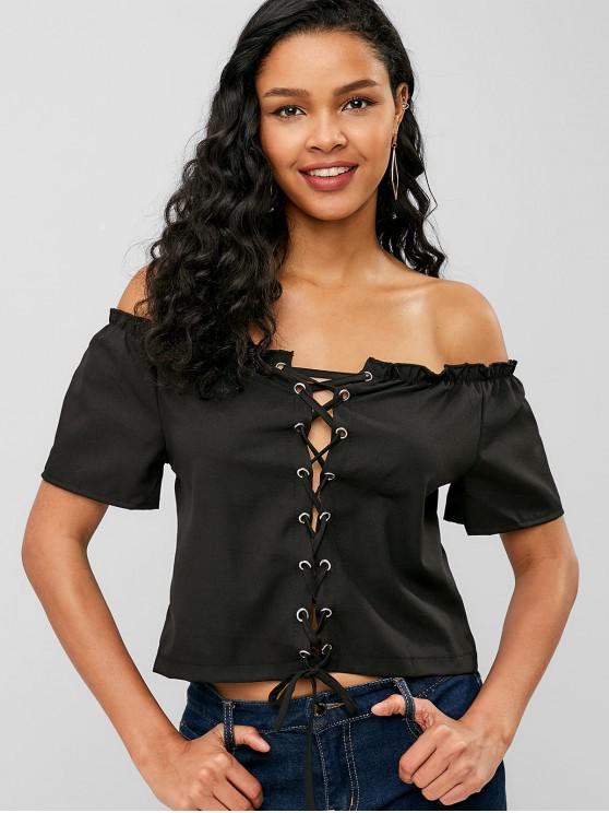 women Lettuce Lace-up Off Shoulder Crop Top - BLACK M