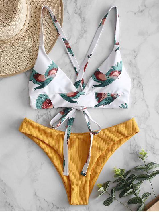 hot ZAFUL Bird Criss Cross Ribbed Bikini Set - MULTI-A S