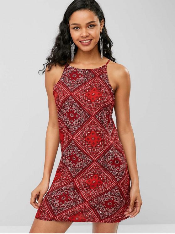 Robe à Bretelle Cachemire Imprimé Style Bohémien - Rouge Vineux S