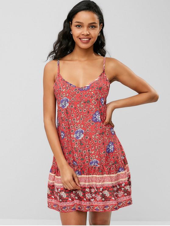 women's Flower Cami Drop Waist Dress - RED L
