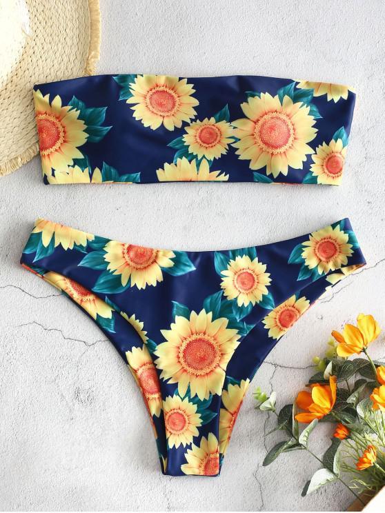 online ZAFUL Sunflower Bandeau Bikini Set - MULTI-A L