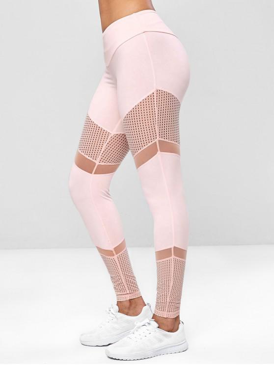 affordable Perforated Mesh Insert Gym Yoga Leggings - ORANGE PINK L