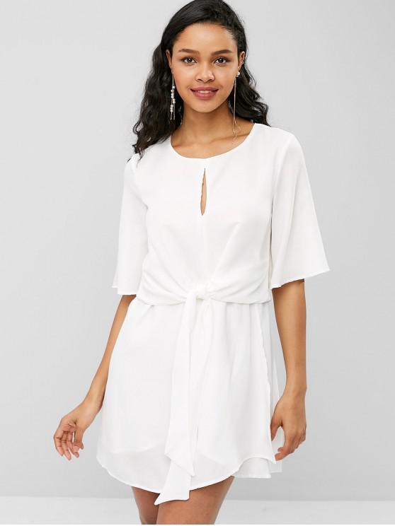 women's Keyhole Belted Mini Dress - WHITE S