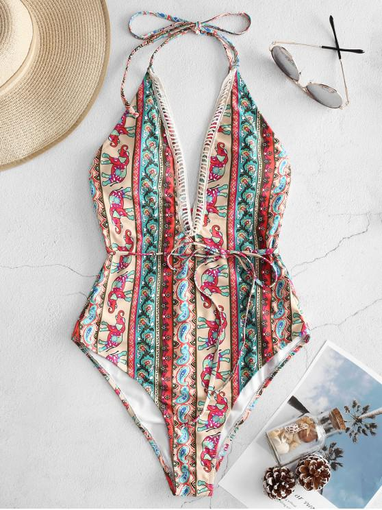 outfit ZAFUL Elephant Flower Halter Backless Swimsuit - MULTI-A M