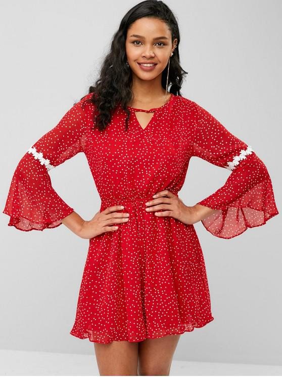 outfits Open Back Flare Sleeve Dots Dress - ROSSO RED ONE SIZE