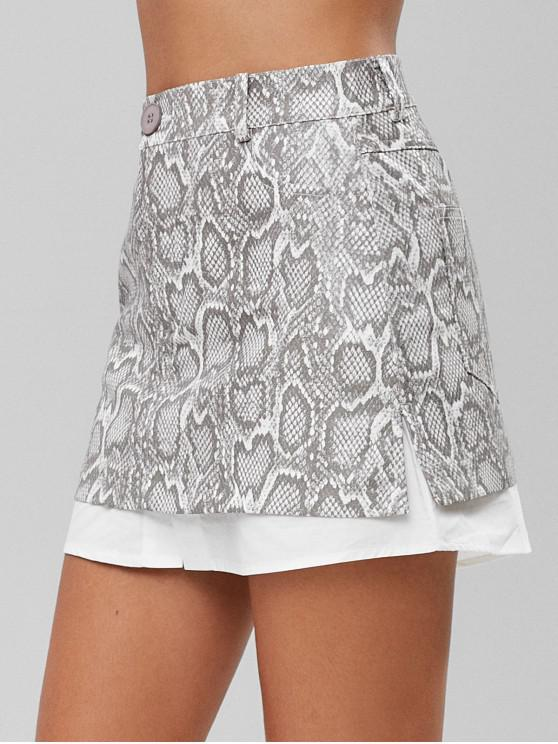 chic Snake Print Panel Patent Leather Skirt - GRAY S