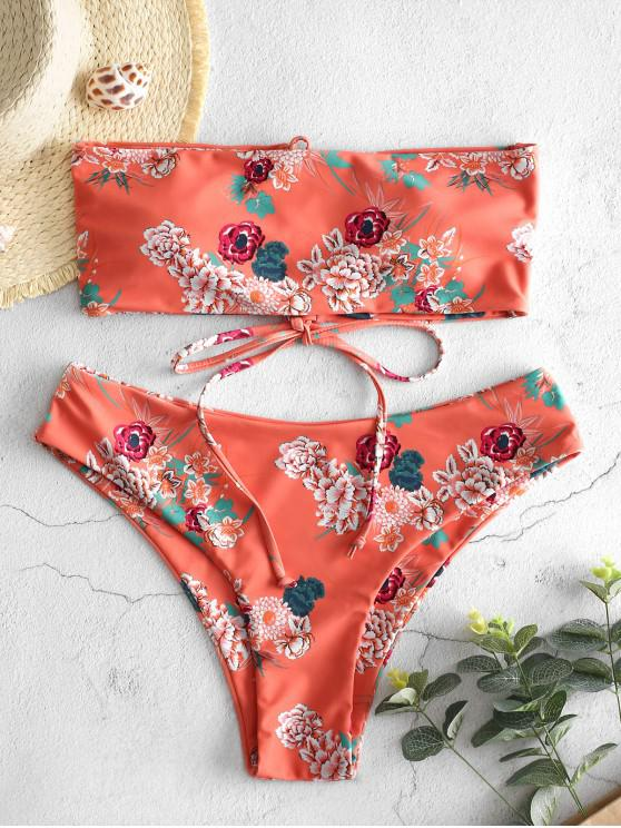 fashion ZAFUL Lace Up Flower Reversible Bikini Set - MULTI-A M