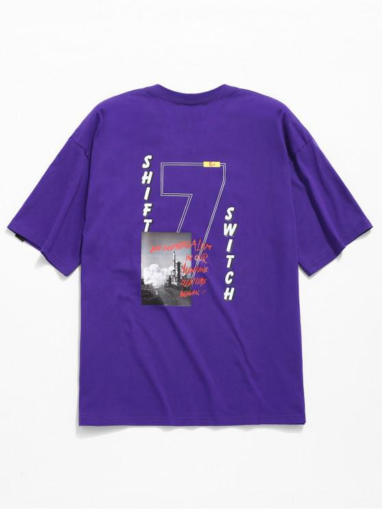 buy Graphic Print Cool T-shirt - PURPLE L