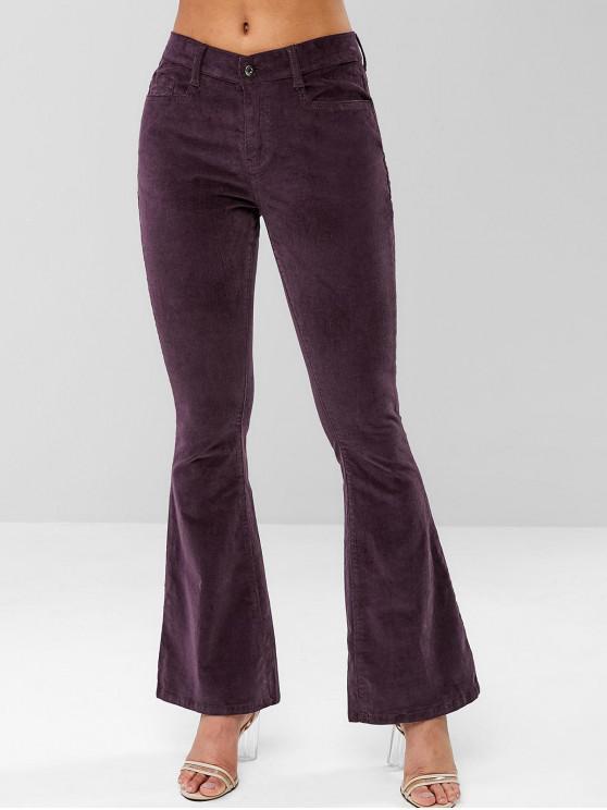 outfits Pocket Corduroy Flare Pants - EGGPLANT M