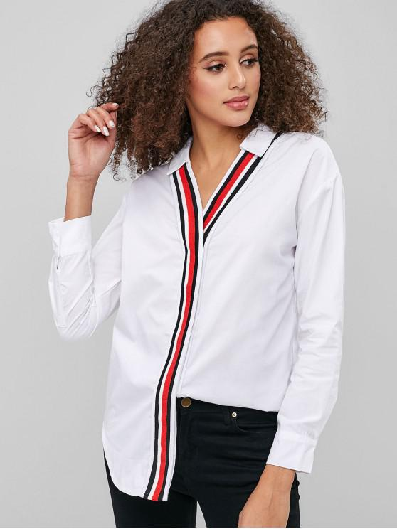 buy Striped Invisible Button Longline Shirt - WHITE M