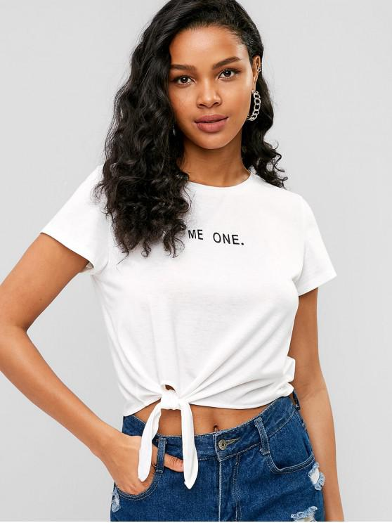 affordable Self-tie Me One Graphic Tee - WHITE S