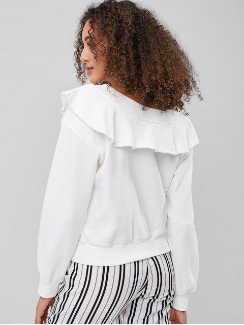 lady Off Shoulder Raw Hem Flounce Sweatshirt - WHITE M Mobile