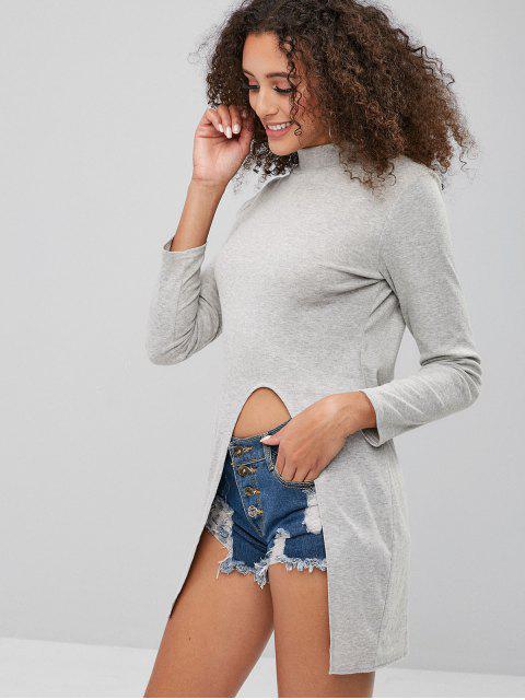 sale Front Split High Neck Slim Tee - GRAY XL Mobile