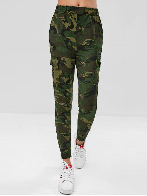 womens Flap Pockets High Waisted Camouflage Pants - ACU CAMOUFLAGE S Mobile