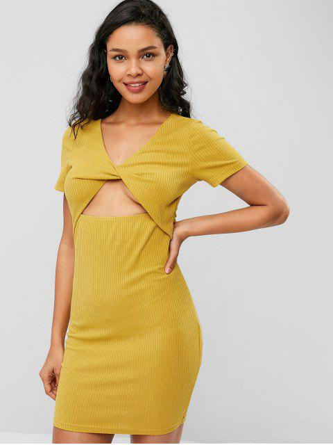 best ZAFUL Twist Short Bodycon Knit Dress - BEE YELLOW S Mobile