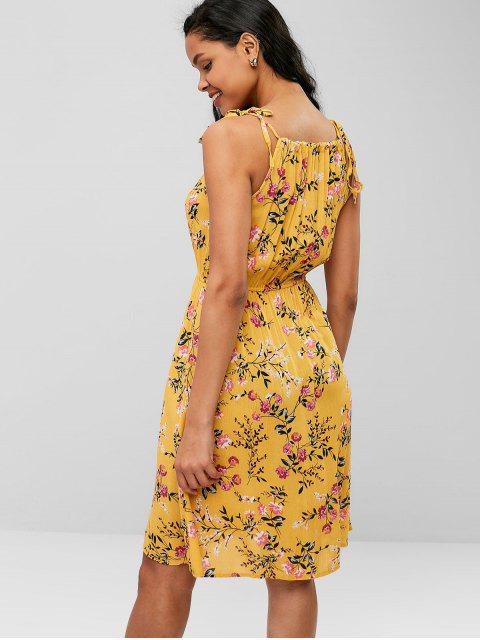 women ZAFUL Tied Straps Button Up Floral Dress - BEE YELLOW S Mobile