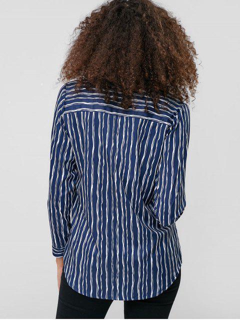 Camisa a rayas con botones en los bolsillos delanteros - Azul S Mobile