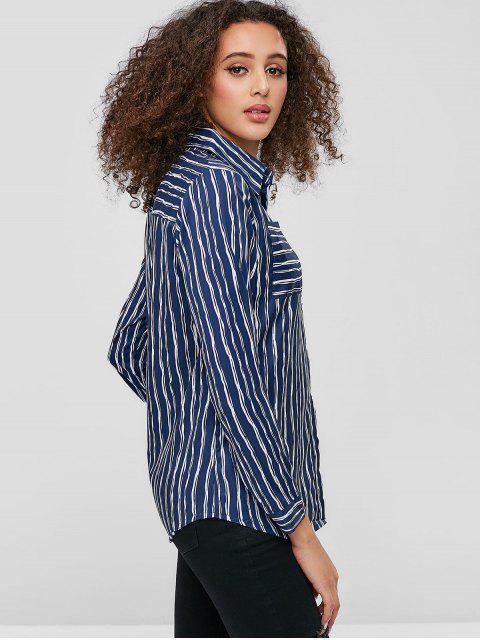affordable Front Pockets Button Down Stripes Shirt - BLUE M Mobile