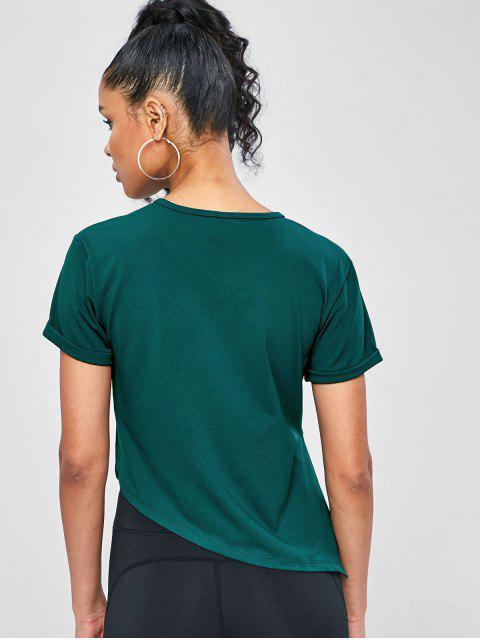 Asymmetrisches Fitness-T-Shirt mit Seitlichem Schlitz - Dunkelgrün M Mobile
