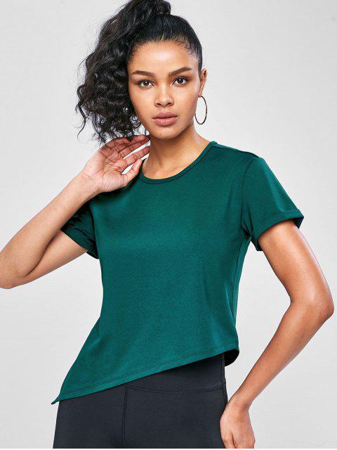 Asymmetrisches Fitness-T-Shirt mit Seitlichem Schlitz - Dunkelgrün L Mobile