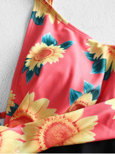 ZAFUL Girasol Backless traje de baño de cintura alta - Multicolor-A S Mobile