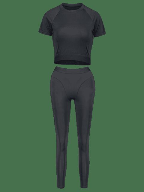 Elastisches Trainieren- Gym T-Shirt und Gamaschen-Anzug - Schwarz S Mobile