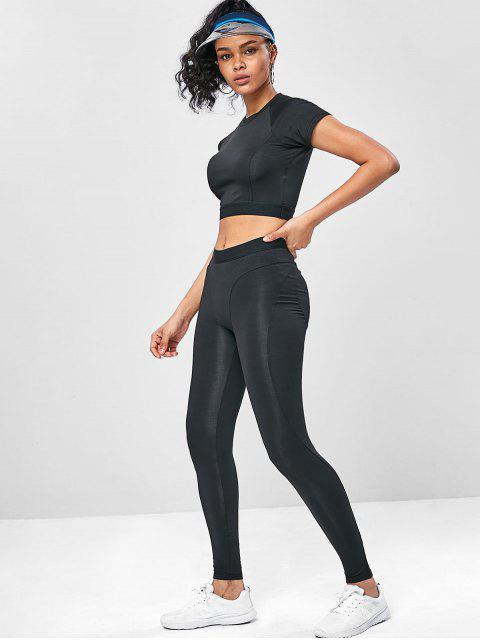 Elastisches Trainieren- Gym T-Shirt und Gamaschen-Anzug - Schwarz M Mobile