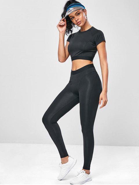 Elastisches Trainieren- Gym T-Shirt und Gamaschen-Anzug - Schwarz L Mobile