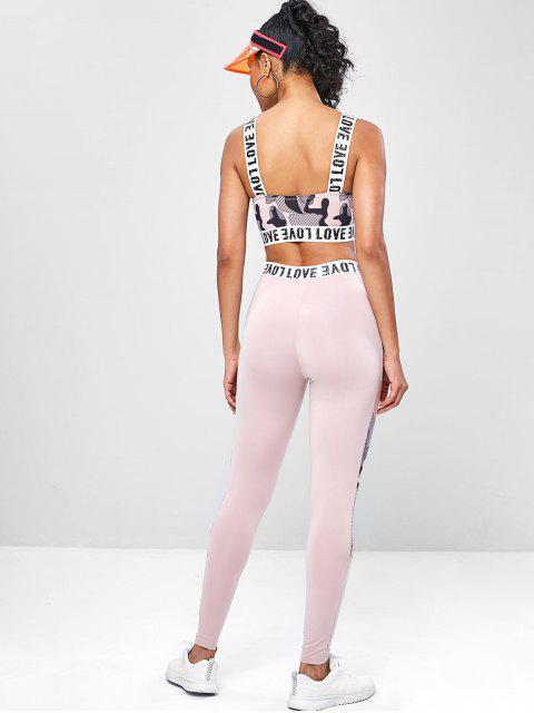 Yoga-Gymnastikanzüge mit Maschen-Druck - Orange Rosa L Mobile