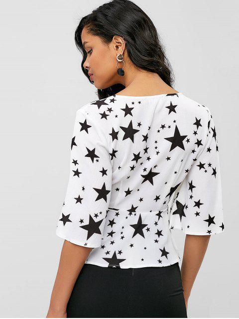 womens ZAFUL Peplum Star Print Wrap Blouse - WHITE L Mobile