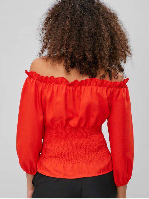 online Lace-up Frilled Off Shoulder Blouse - BRIGHT ORANGE S Mobile
