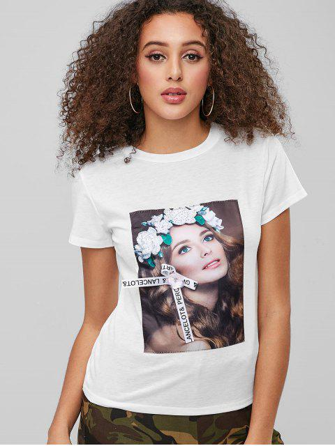 chic Girl Graphic Rhinestoned Tee - WHITE L Mobile