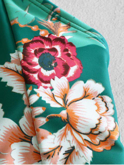 ZAFUL Цветочный принт На шнуровке Открытая спина Купальник - Многоцветный-A S Mobile