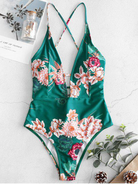 outfit ZAFUL Flower Backless Lace Up Swimsuit - MULTI-A XL Mobile