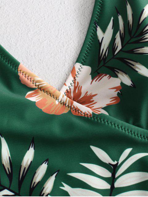 ZAFUL Traje de baño con estampado de corbata y estampado vegetal - Verde de Algas Marinas L Mobile