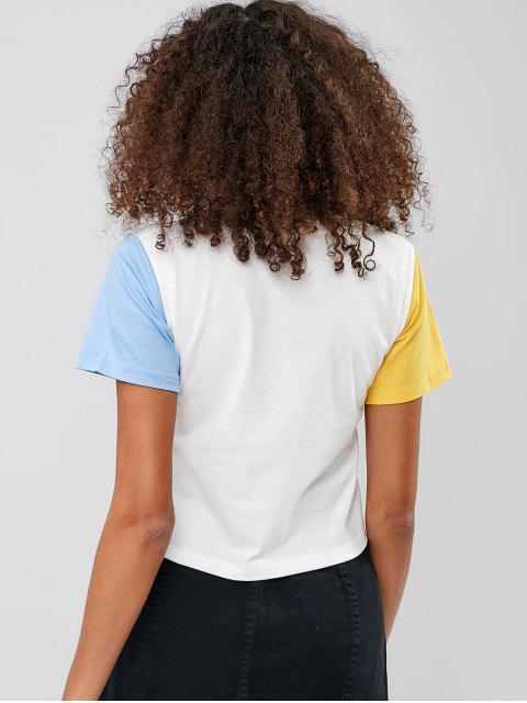 Cuello redondo Contraste bolsillo Tee - Multicolor-A M Mobile