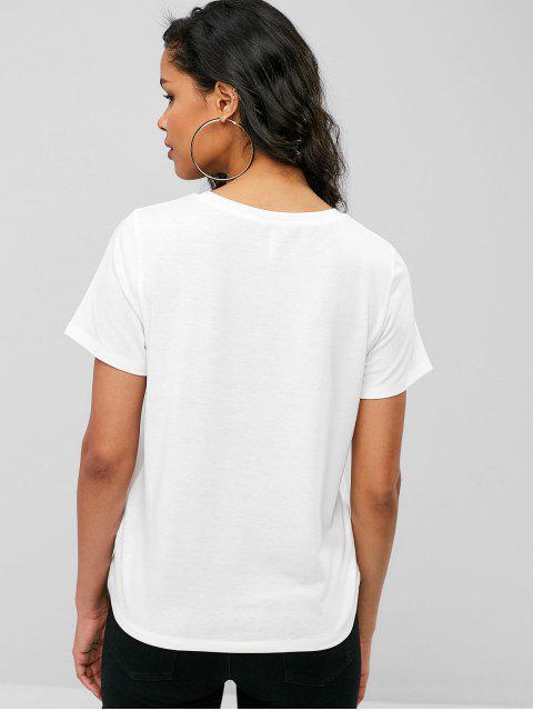 Camiseta Gráfica Letras - Blanco M Mobile