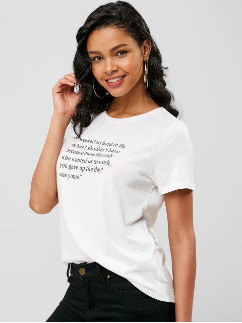 Camiseta Gráfica Letras - Blanco XL Mobile