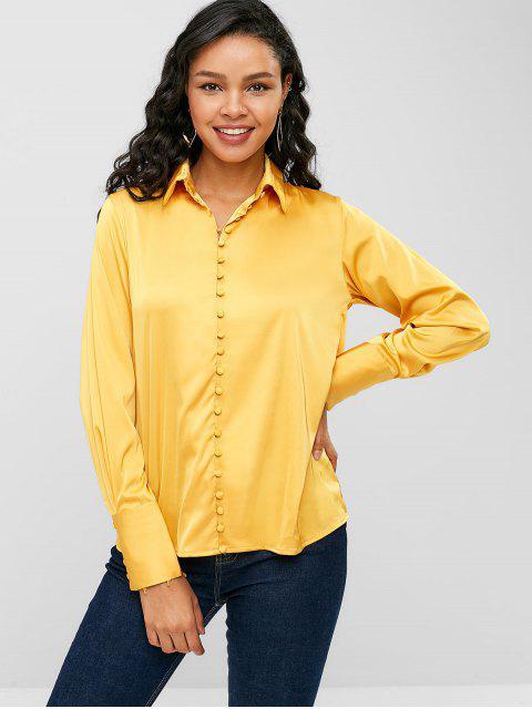 Chemise Haute Basse Boutonnée en Satin - Jaune S Mobile