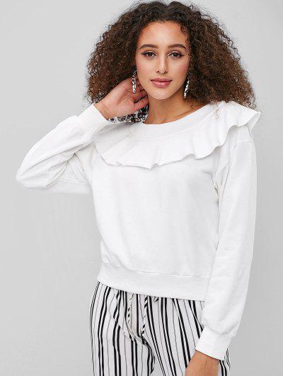 Off Shoulder Raw Hem Flounce Sweatshirt - White M